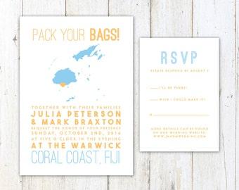 Fiji Wedding Invitation, Destination Wedding Invitation, Fijian Map Wedding Invitation