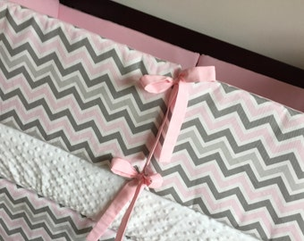 Ready to ship, Bumper Set, Bumpers, Nursery, Baby Bedding, Crib Bedding, Pink, White, Gray, Chevron, Crib Bumpers