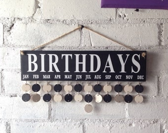 Wooden calendar, Birthday organiser, Birthday board. Complete with 30 black and white circle disks. Kitchen decor.