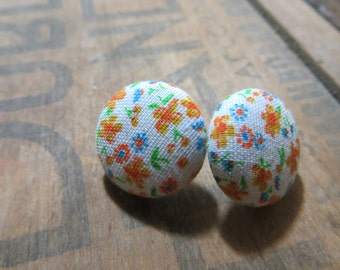 Orange Flowers Fabric Button Earrings