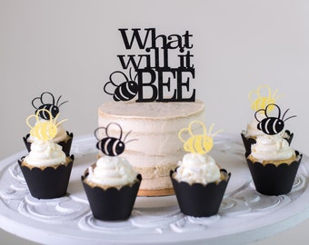Bee Cupcake Toppers Set Of 12 What Will It Gender