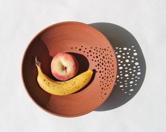 Ceramic medium fruit bowl in terra-cotta, modern ceramic bowl, contemporary pottery bowl by Curve Ceramics