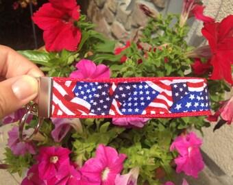 American Flag Key Fob, Wristlet, Key Chain!