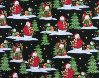 Henry Glass, 6387 99 flannel, Christmas, black background with snowmen