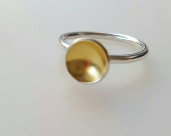 Eco Sterling Silver ring gold plated, alternative engagement ring