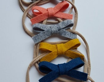 Dainty Wool Felt Bow on Nylon Headband or Hair Clip- One Size Fits All - CHOOSE ONE - by Gracie and Me