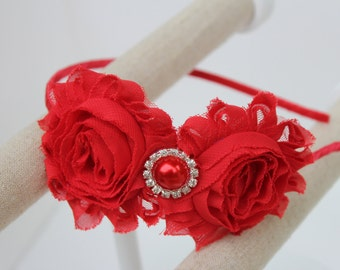 red headband red flower girl headband red wedding headband Christmas headband red toddler headband red bridesmaid headband satin headbands