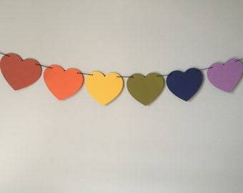 Rainbow Heart Banner, LGBT, Gay Pride, Queer Banner, Lesbian Bridal Shower, Gay Banner, Queer Valentine, Rainbow Party, Tumblr Dorm Decor