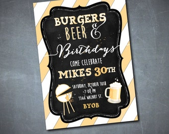 Burgers and Beer Invitation printable/Digital File/birthday invitation, surprise, 40th, 30th, beer and burgers, bbq/Wording can be changed