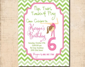 Gymnastic Birthday Invitation girl printable/Digital file/flip, tumble, hot pink, gymnastic invitation, /wording can be changed