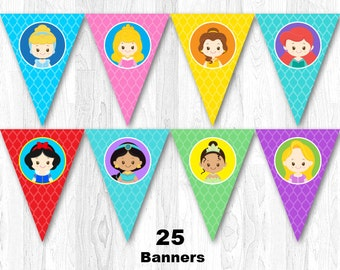 Disney Princess Birthday Party Banner, Princess Birthday Banner, Disney Princess Bunting