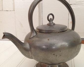 Vintage Insico Pewter Kettle Teapot Old Kitchen Metal Pot Decor