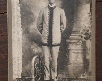 Antique Horn Player Photograph