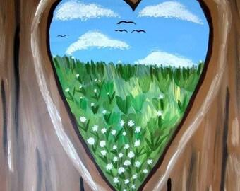 Hand painted wood framed canvas - Keyhole Heart