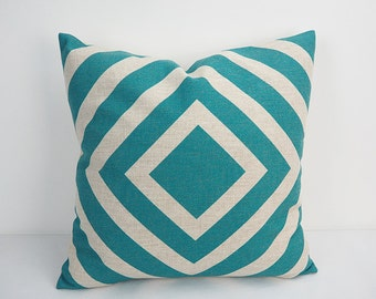 Turquoise Pillow cover 18x18, Pillow, Pillow case, Turquoise  Throw pillow, Decorative throw pillows,  Geometric Pillow, 20x20 pillow cover