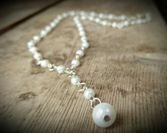 Pearl drop necklace , elegant necklace , bridal jewelry , bride necklace , wedding gift , pearl wedding necklace , minimalistic jewellery