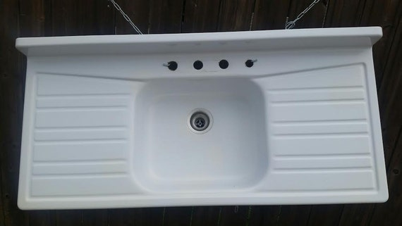 enamel cast iron farmhouse sink kitchen sink with drainboard each side vintage retro - Enamel Kitchen Sink