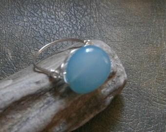 Aqua and silver ring