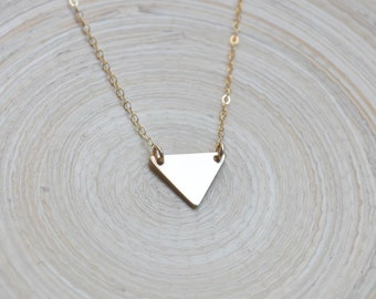 Gold Triangle Necklace, Gold Filled Triangle Necklace, Triangle Necklace