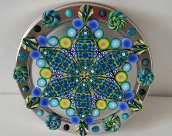One of a kind Polymer Clay Mandala Wall hanging
