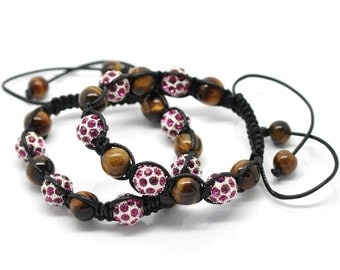 Tiger's Eye Pink Rhinestone Black Macramé Shamballa Bracelet 7-10 Inches Adjustable