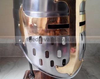 medieval sugarloaf templar helmet larp Armour reenactment knight crusader helm