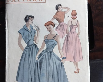Butterick 5378; ca. 1950; Teen Age Dress and Bolero. Teeners will love this ensemble for both day and date-time wear. Bust 30