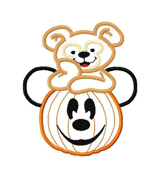 Character Applique Design : Character bear jack o lantern embroidery applique design