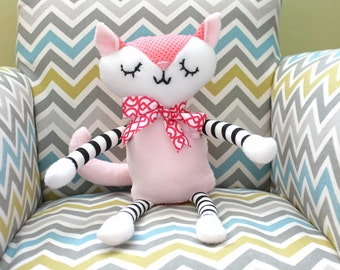 PINK Cat, Handmade children's plush toy - made to order