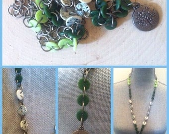 Mix buttons and a tree pendant
