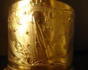 Vintage soviet aluminium glass holder Space, not: sigarette case, box. (2).