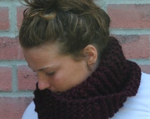 Scarf SALE - Bulky Twist Cowl Wool Scarf, chunky knit yarn, also avialable in DIY knitting kit, versatile mobius infinity scarf style