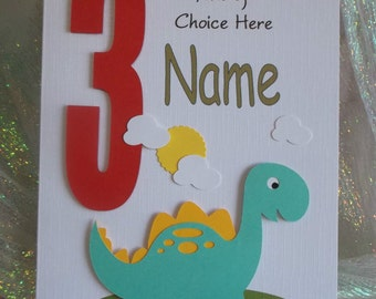 Personalised 1st, 2nd Any Age Dinosaur Birthday Card