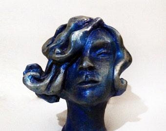 Orginal clay sculpture The Waves bust sculpture