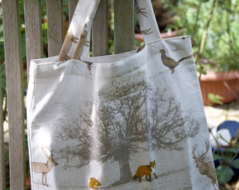 Woodland Print Cotton Book/Tote Bag