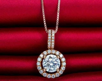 18k Rose Gold Halo Diamond Pendant Necklace Wedding Birthday Valentine's Mother's Day