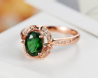 Green Tourmaline Diamond Ring in 18k Rose Gold Engagement Wedding Birthday Anniversary Valentine's