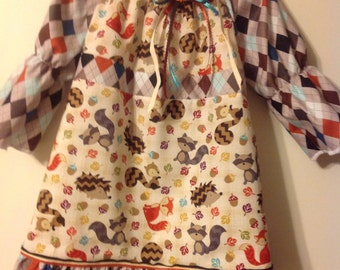 Cute fox dress with hedgehogs and animals
