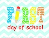 First day of school SVG and studio files for Cricut, Silhouette, Vinyl Cutters and Screen Printing