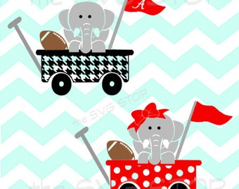 Elephant football wagon SVG and studio files for Cricut, Silhouette, Vinyl Cutters and Screen Printing