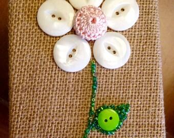 50% OFF SALE - Daisy Flower Button Art Keepsake Box