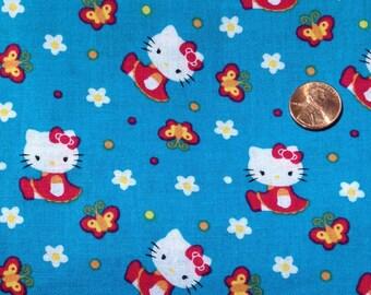 HELLO KITTY on Blue Background 100% Cotton Fabric ~ Sanrio 2011 ~ New Fabric Fat Quarter / FQ