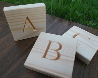 26 Wooden English alphabet blocks, ABC, Educational gift, Baby shower gift, Wooden block letters, Personalized blocks, ABC blocks,
