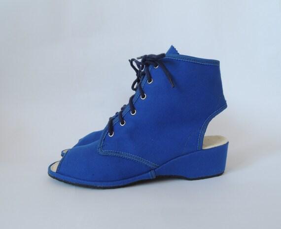 vintage canvas shoes borosana navy blue open toe lace up