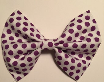 White with purple polka dots fabric hair bow