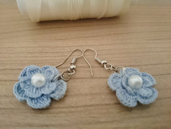 Handmade blue crochet flower earrings by fashionmeaccessories