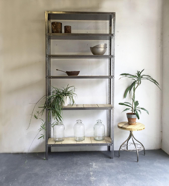 vintage industrial metal shelving unit with by derelictdesign. Black Bedroom Furniture Sets. Home Design Ideas