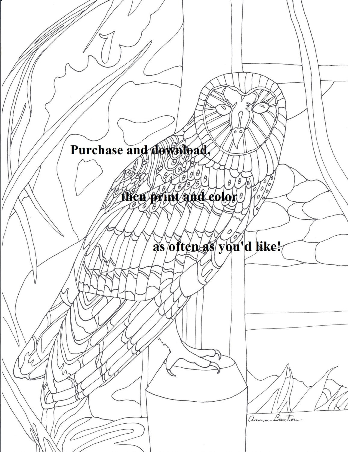 2 coloring pages barn owl and little house by for Little house coloring pages