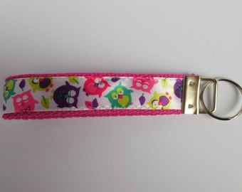 Hot Pink Key Fob with Bright Colored Owls