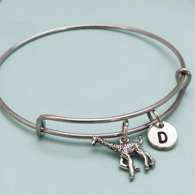 Giraffe Charm Bracelet: Giraffe Bangle Giraffe Charm Bracelet Animal Bangle